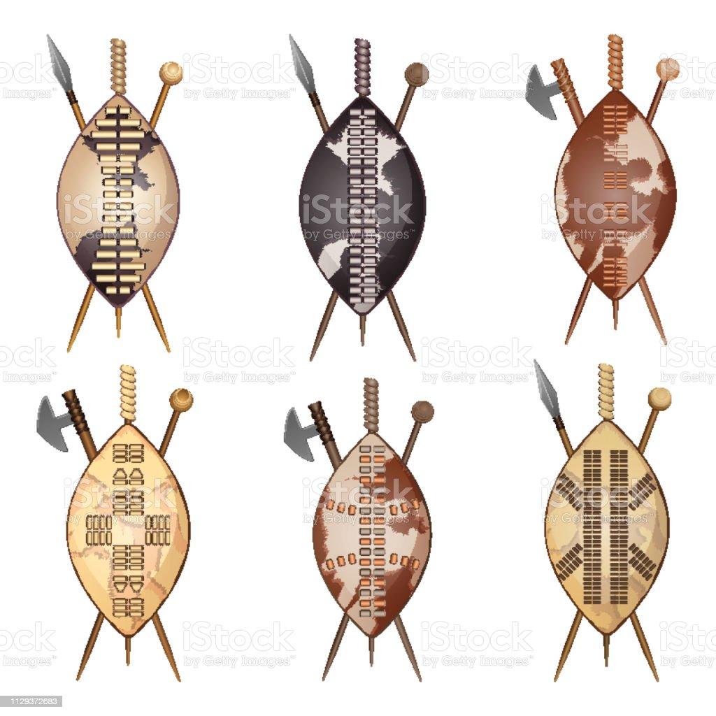 African Zulu Assegai Spear Shield And Club Set Stock Vector Art
