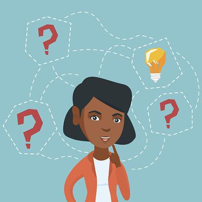 African-american business woman got business idea clipart