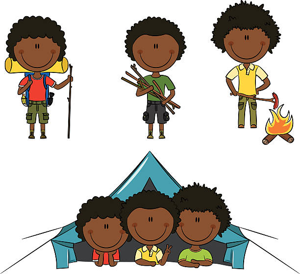 African-American Camping Boys vector art illustration