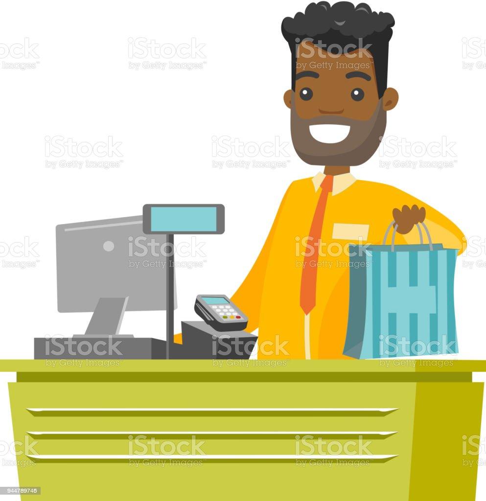 Africanamerican Kasse Warenkorb Übergabe Stock Vektor Art und mehr ...