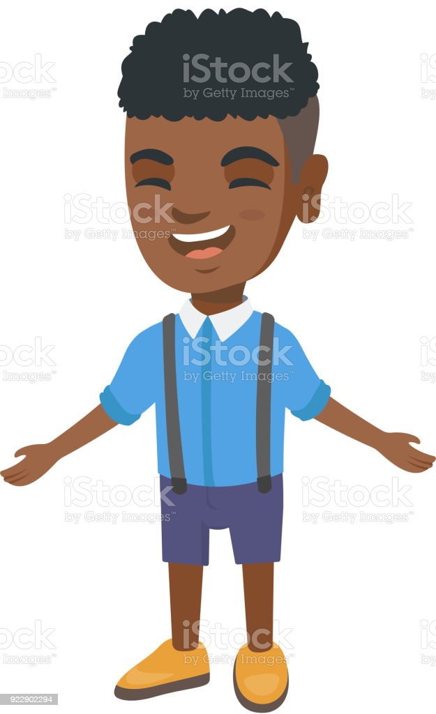 African-american cheerful boy laughing vector art illustration
