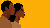 African-American couple. Black man and woman are standing side by side and look ahead. Portraits of people, side view, head and shoulders. Modern vector illustration for banner, cover, print, blogs.