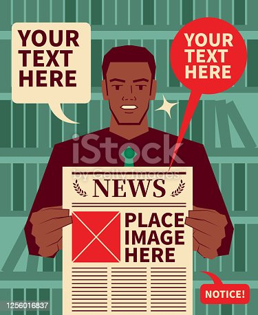 African-American Ethnicity businessman (journalist, financial advisor, teacher, lawyer, politician) holding a newspaper and showing breaking news
