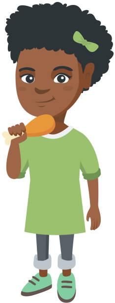 African-american girl eating roasted chicken leg vector art illustration