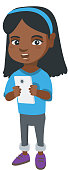 African-american girl using a smartphone