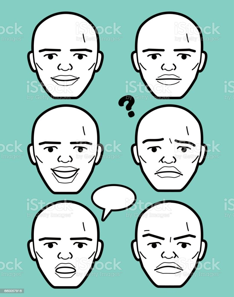African-american Male emoticon Mature adult man face vector art illustration