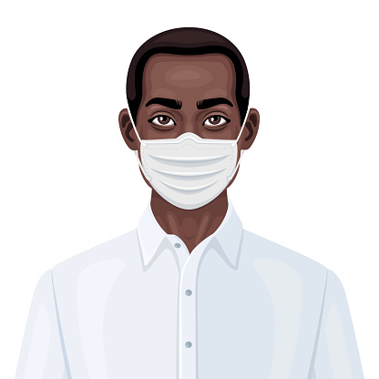 African-American man wearing a protective face mask to prevent virus infection.