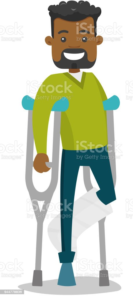 African-american man with broken leg and crutches vector art illustration