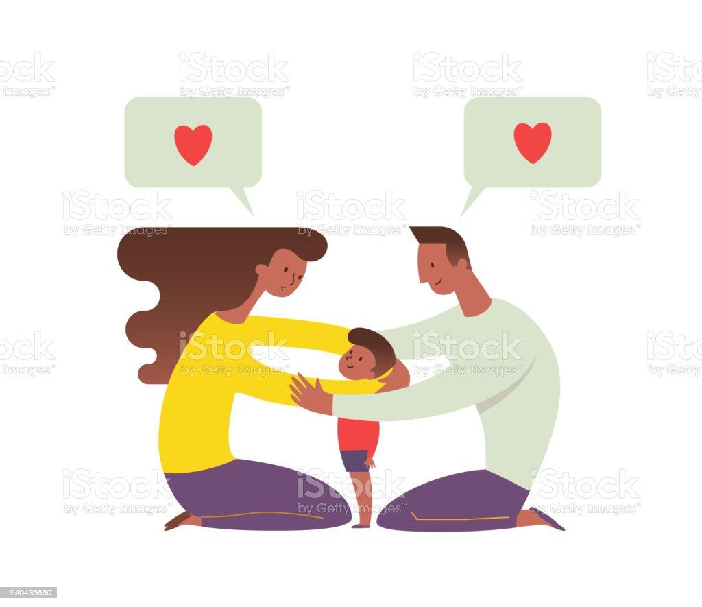 Afro-américaine et maman embrasser leur enfant et de lui parler. Concept de famille aimante et des parents heureux. Personnages de dessin animé plat isolés sur fond blanc. Illustration vectorielle. - Illustration vectorielle