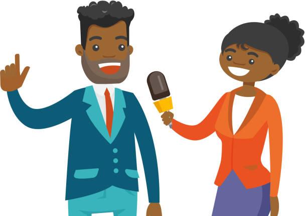 stockillustraties, clipart, cartoons en iconen met afro-amerikaanse verslaggever interviewen van een man - journaal presentator