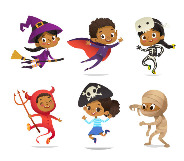 ilustrações de stock, clip art, desenhos animados e ícones de african-american set of boys and girls, wearing halloween costumes isolated on white background. cartoon vector characters of kid witch, pirate, dracula, devil, skeleton, mummy, for party, web, mascot - super baby