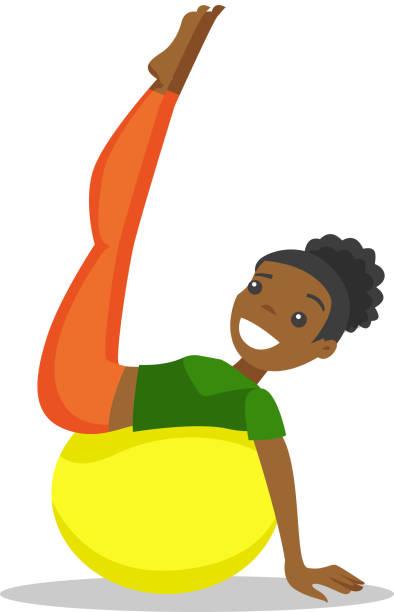 bildbanksillustrationer, clip art samt tecknat material och ikoner med afroamerikansk kvinna tränar med passa bollen - gym skratt