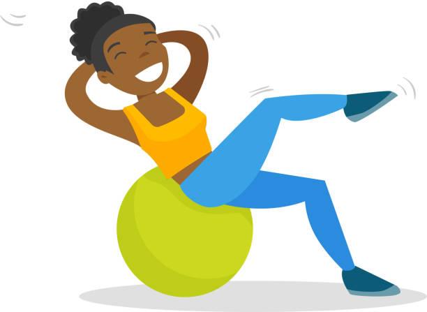 bildbanksillustrationer, clip art samt tecknat material och ikoner med afroamerikansk kvinna tränar med fitball - gym skratt