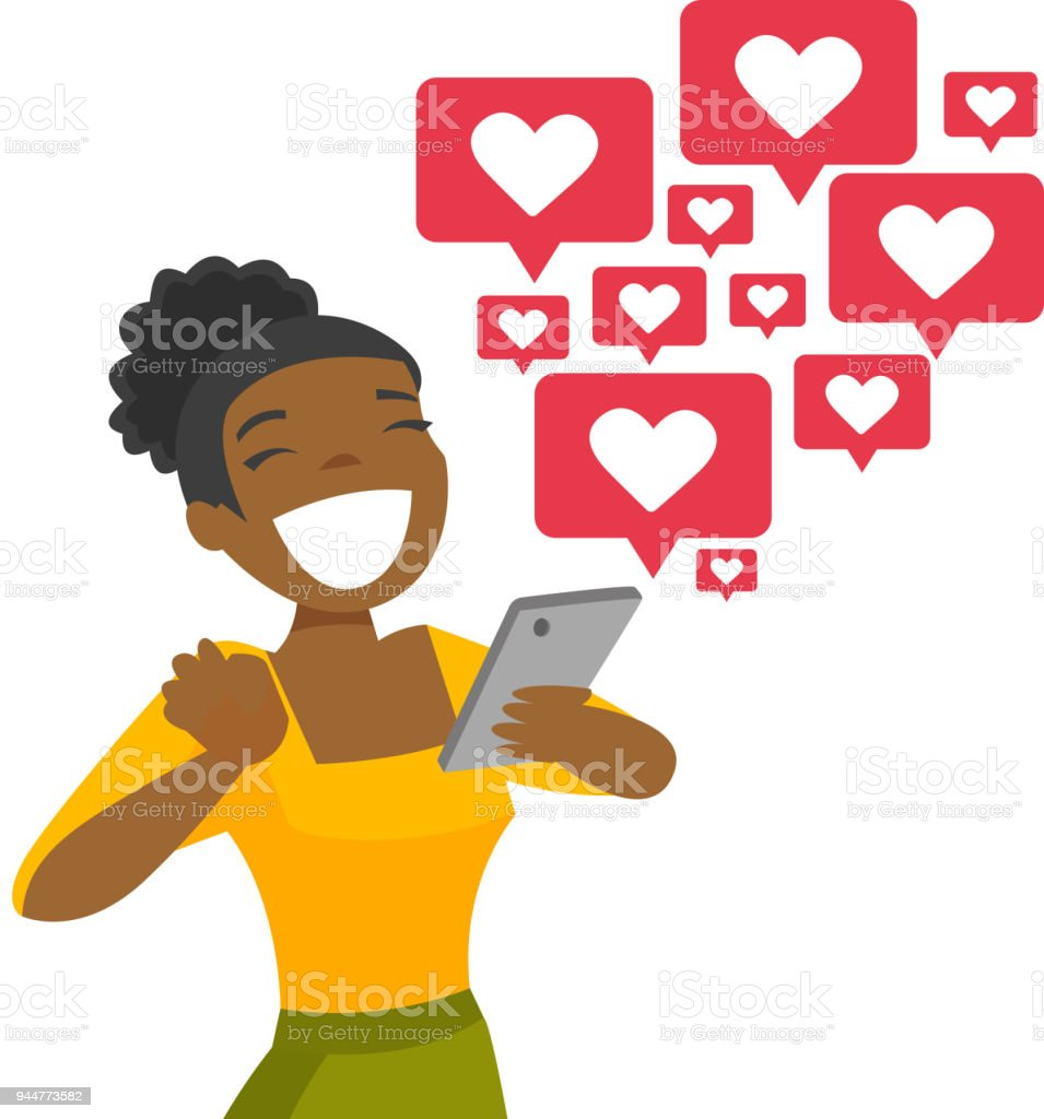 African-american woman getting social media likes vector art illustration