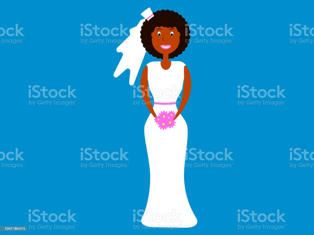 African-American woman in a long wedding dress with a veil. Flat style. Vector illustration vector art illustration
