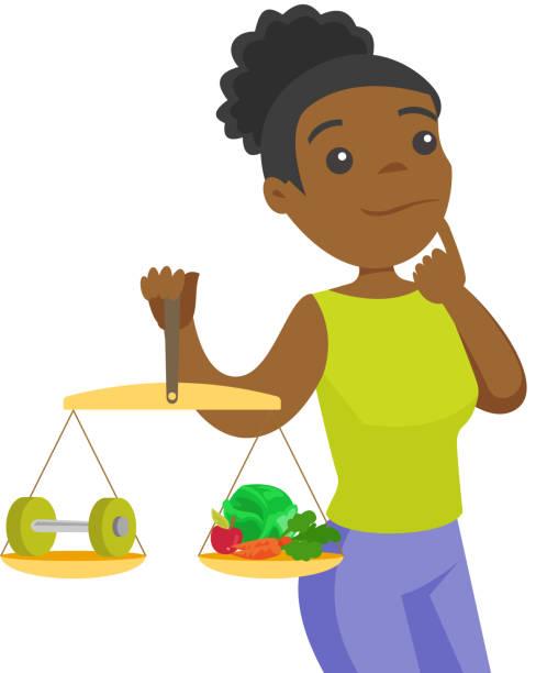 bildbanksillustrationer, clip art samt tecknat material och ikoner med afro-amerikansk kvinna som väger mat och hantel - gym skratt