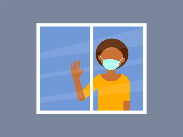 illustrazioni stock, clip art, cartoni animati e icone di tendenza di african-american woman with medical mask standing by the window with raised hand. - hand on glass covid