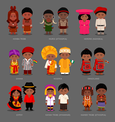 Africans and asians in national dress.