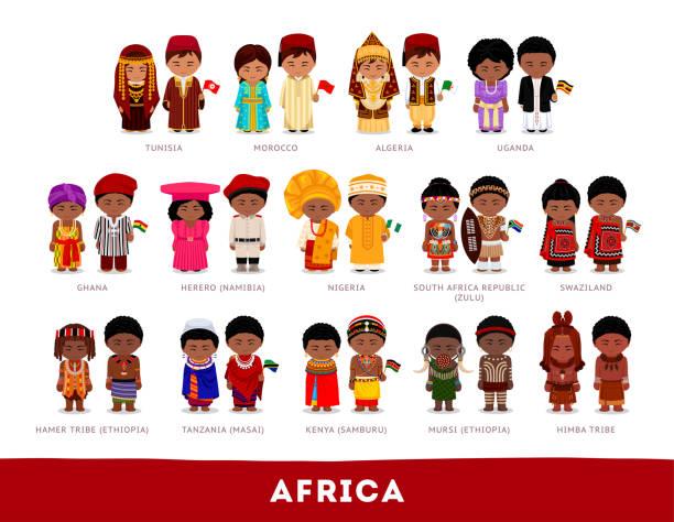 illustrazioni stock, clip art, cartoni animati e icone di tendenza di africans in national clothes. - bambine africa