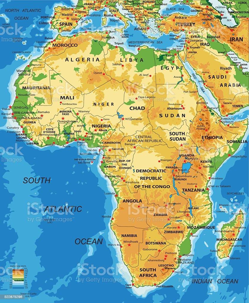 África-físico mapa - ilustração de arte em vetor