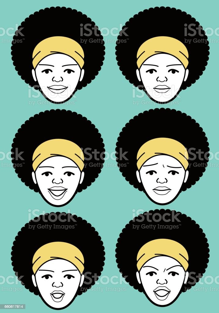 Afro African-american Female emoticon with headband young adult woman face vector art illustration