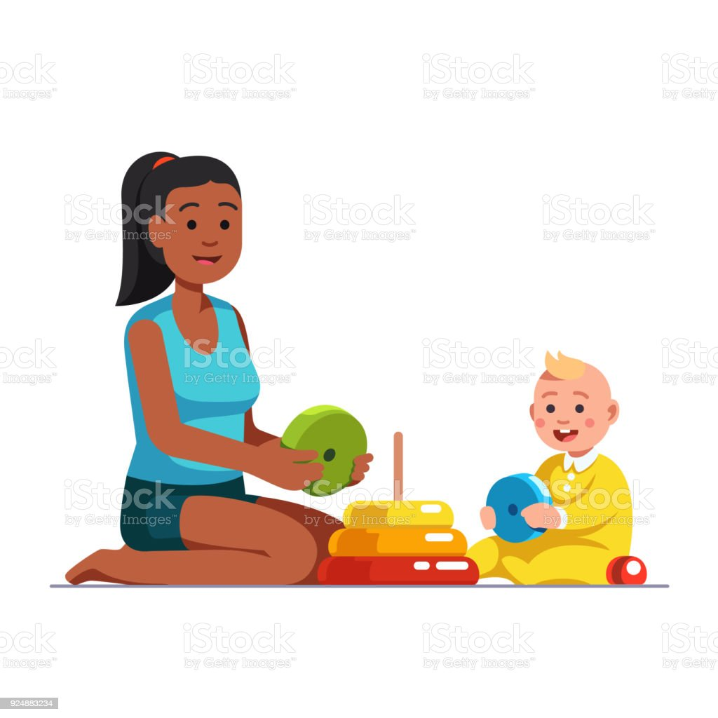 Afro American babysitter playing with baby boy vector art illustration