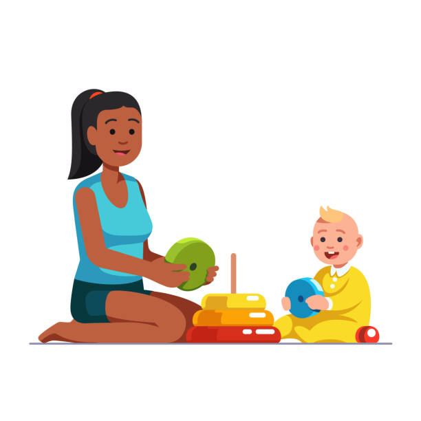 afro american babysitter playing with baby boy - babysitter stock illustrations, clip art, cartoons, & icons
