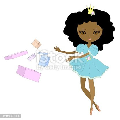 istock Afro American ballerina, dancer, princess with gift boxes. Vector illustration. 1288601906