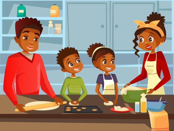 ilustraciones, imágenes clip art, dibujos animados e iconos de stock de familia negra afroamericana cocinando juntos en la cocina vector plana dibujos animados ilustración de padres y niños africanos que preparan comidas - black people