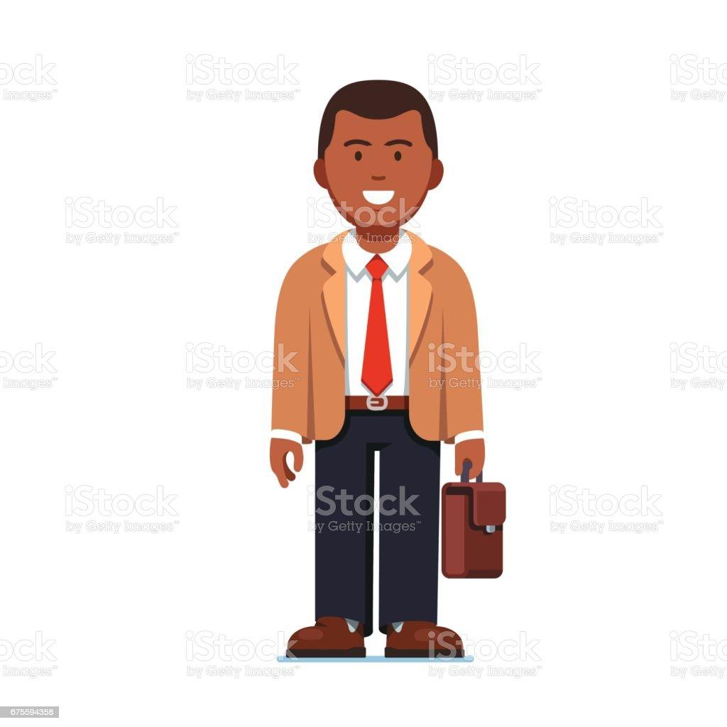 Homme Afro American business permanent avec valise homme afro american business permanent avec valise – cliparts vectoriels et plus d'images de adulte libre de droits