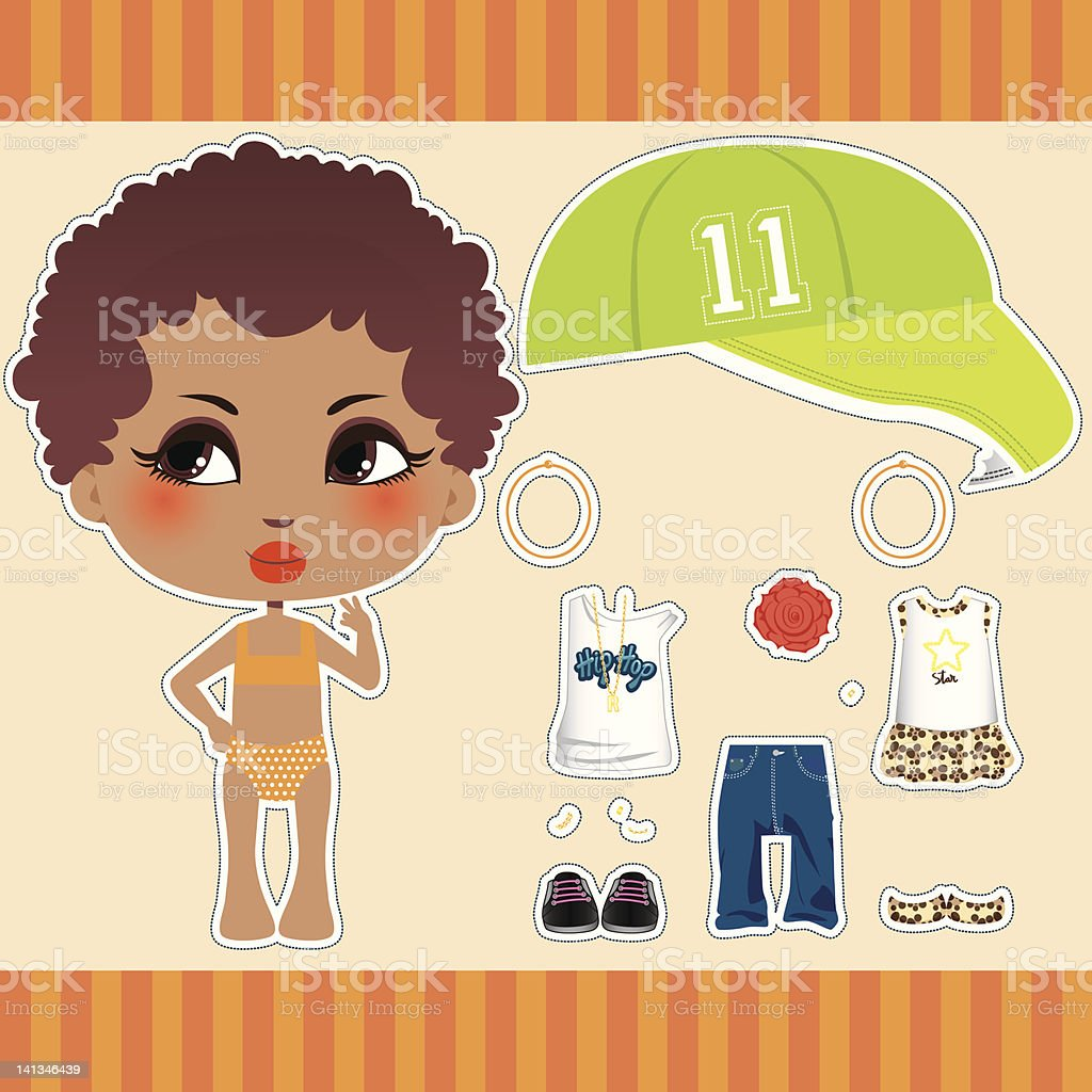 Afro American Fashion Girl royalty-free stock vector art