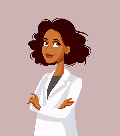 Afro American Female Doctor With Arms Crossed Vector Character