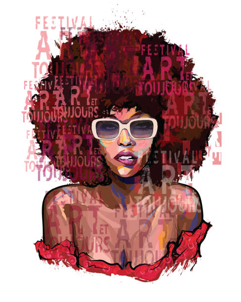 Afro american girl with sunglasses vector art illustration