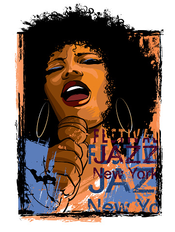 Afro American Jazz singer on a grunge background