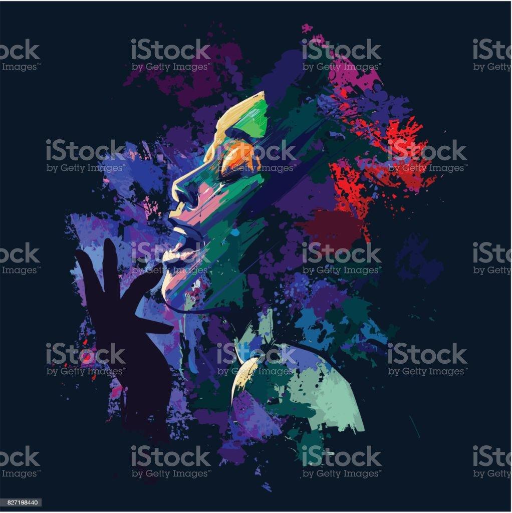 Afro american jazz singer on grunge background vector art illustration