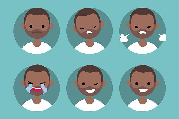 stockillustraties, clipart, cartoons en iconen met afro american man profile pics - kaal geschoren hoofd