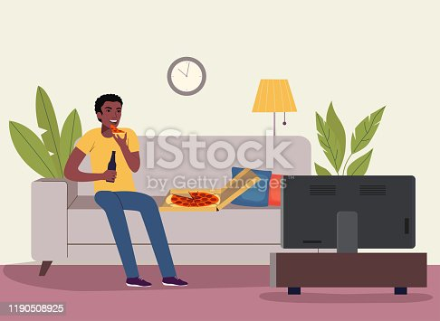 Afro american man watching soccer on the TV with beer and pizza. Vector flat style illustration