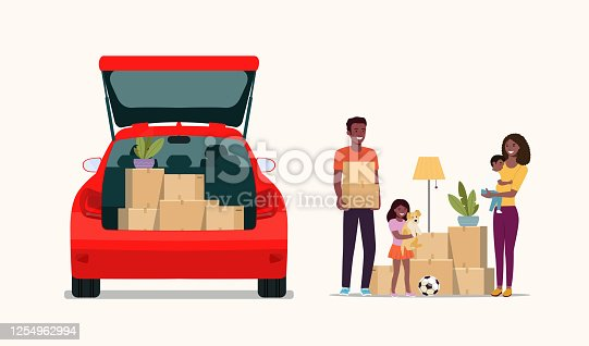 istock Afro american man, woman  and girl hold boxes. Moving house. Car with open door.  Vector flat style illustration. 1254962994
