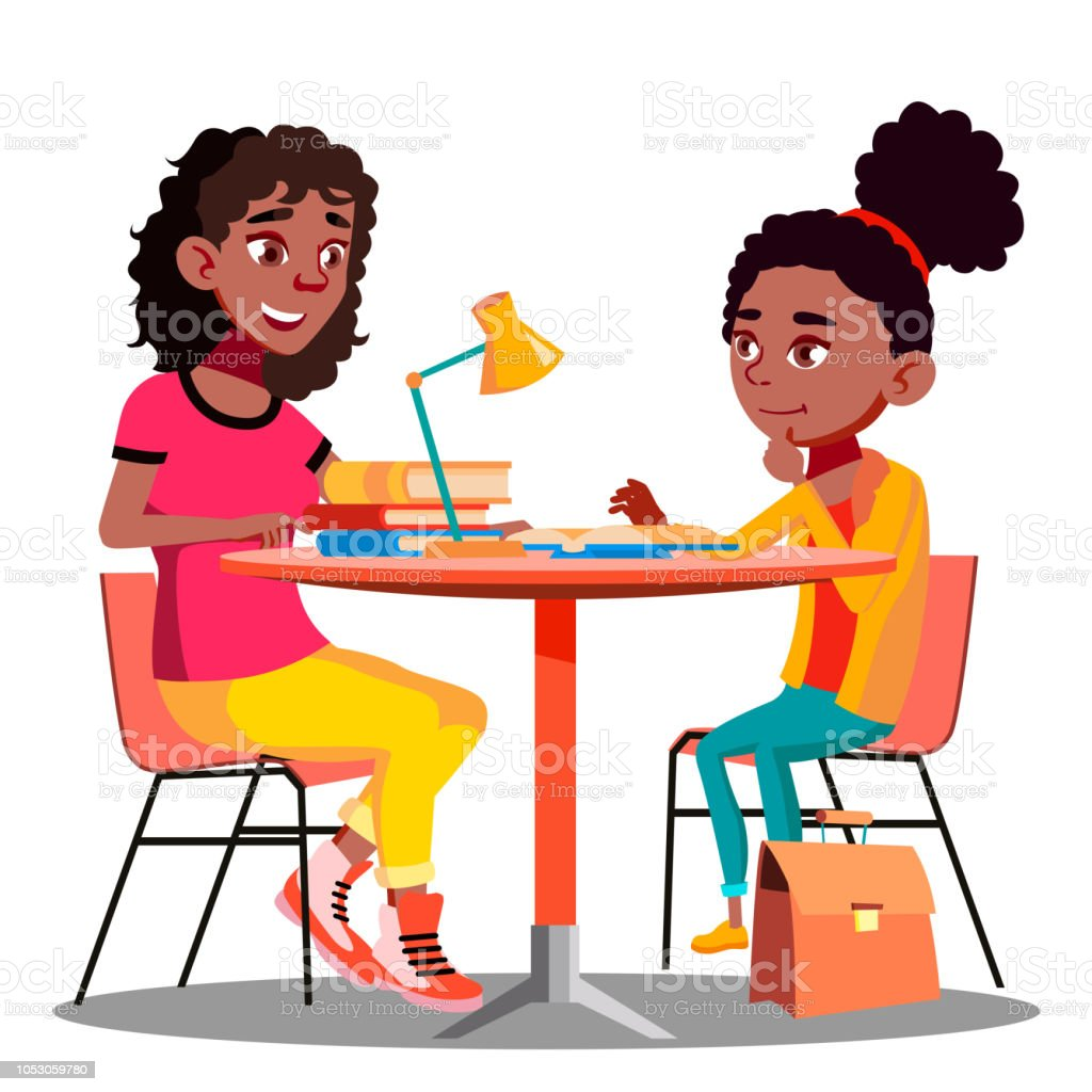 Afro American Mother Helps Child Do School Homework Vector. Isolated Illustration Afro American Mother Helps Child Do School Homework Vector. Illustration Adult stock vector