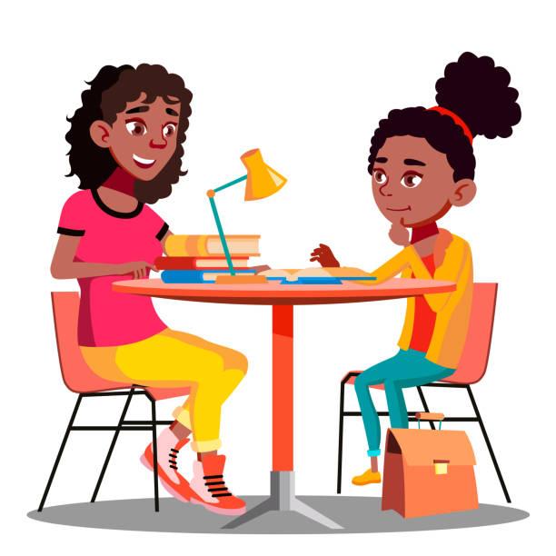 ilustraciones, imágenes clip art, dibujos animados e iconos de stock de afro americano madre ayuda a niño de la escuela vector de tarea. aislados ilustración - hija