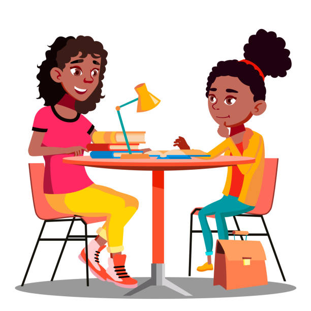 Afro American Mother Helps Child Do School Homework Vector. Isolated Illustration Afro American Mother Helps Child Do School Homework Vector. Illustration daughter stock illustrations