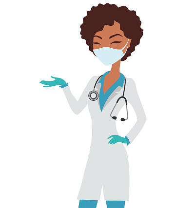 Afro American nurse wearing a mask and a stethoscope.
