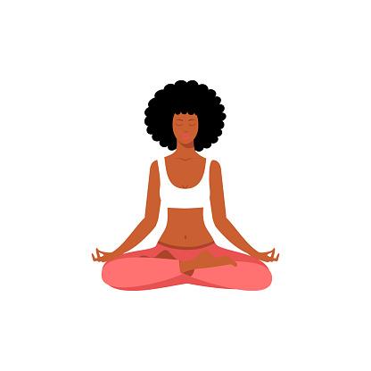 Afro American woman sitting in yoga lotus pose