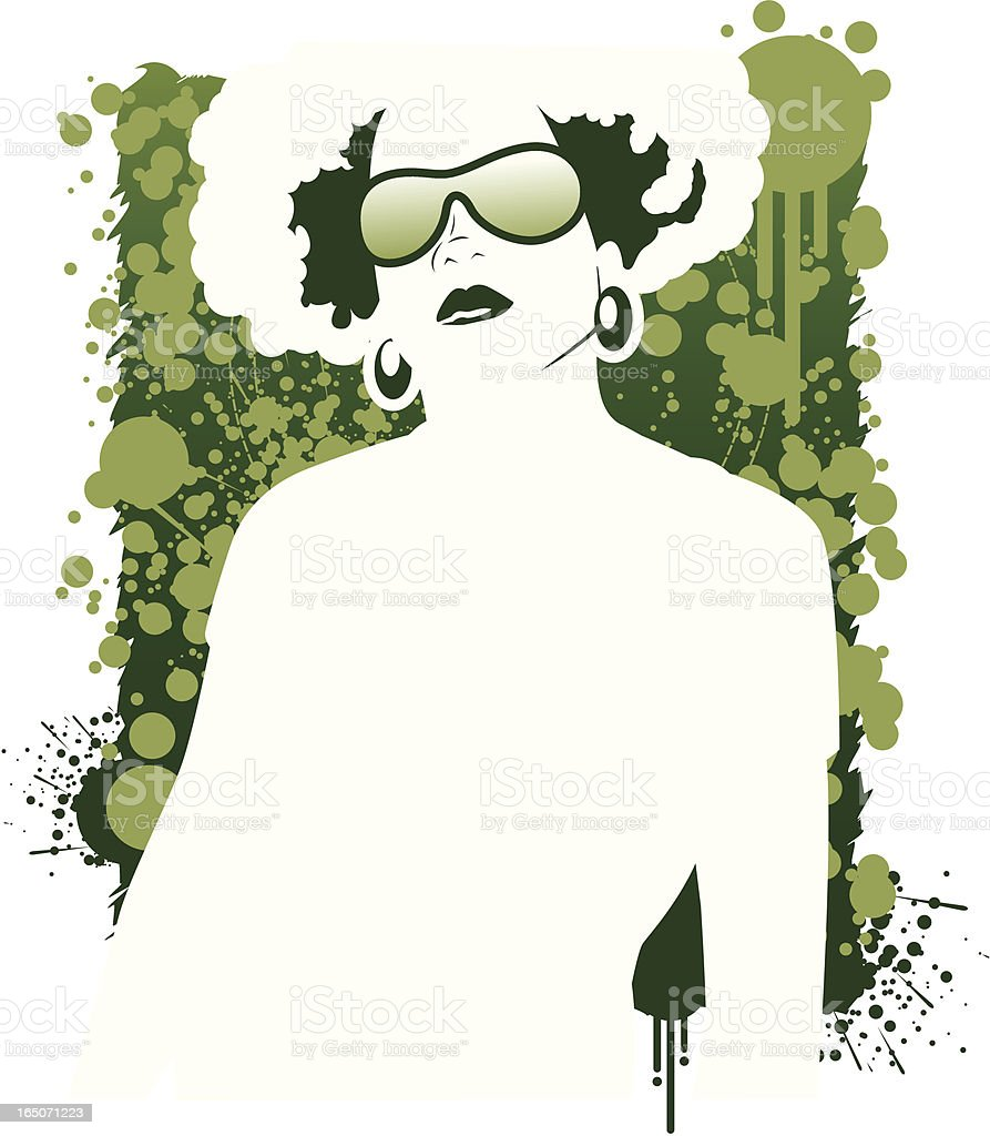 Afro Chic Vector in Green vector art illustration