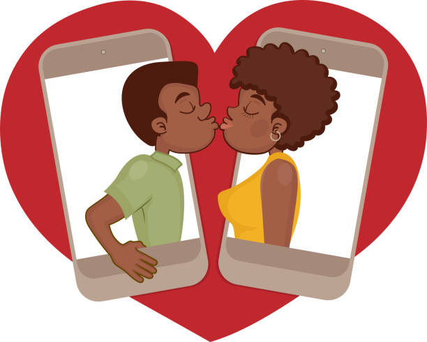 Afro couple dating by video conference Young couple dating on the internet african american valentine stock illustrations