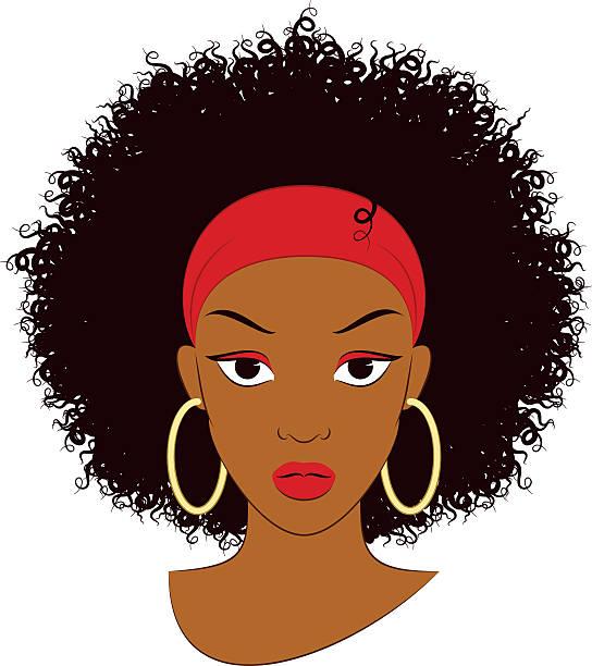ilustraciones, imágenes clip art, dibujos animados e iconos de stock de afro chica - cabello negro
