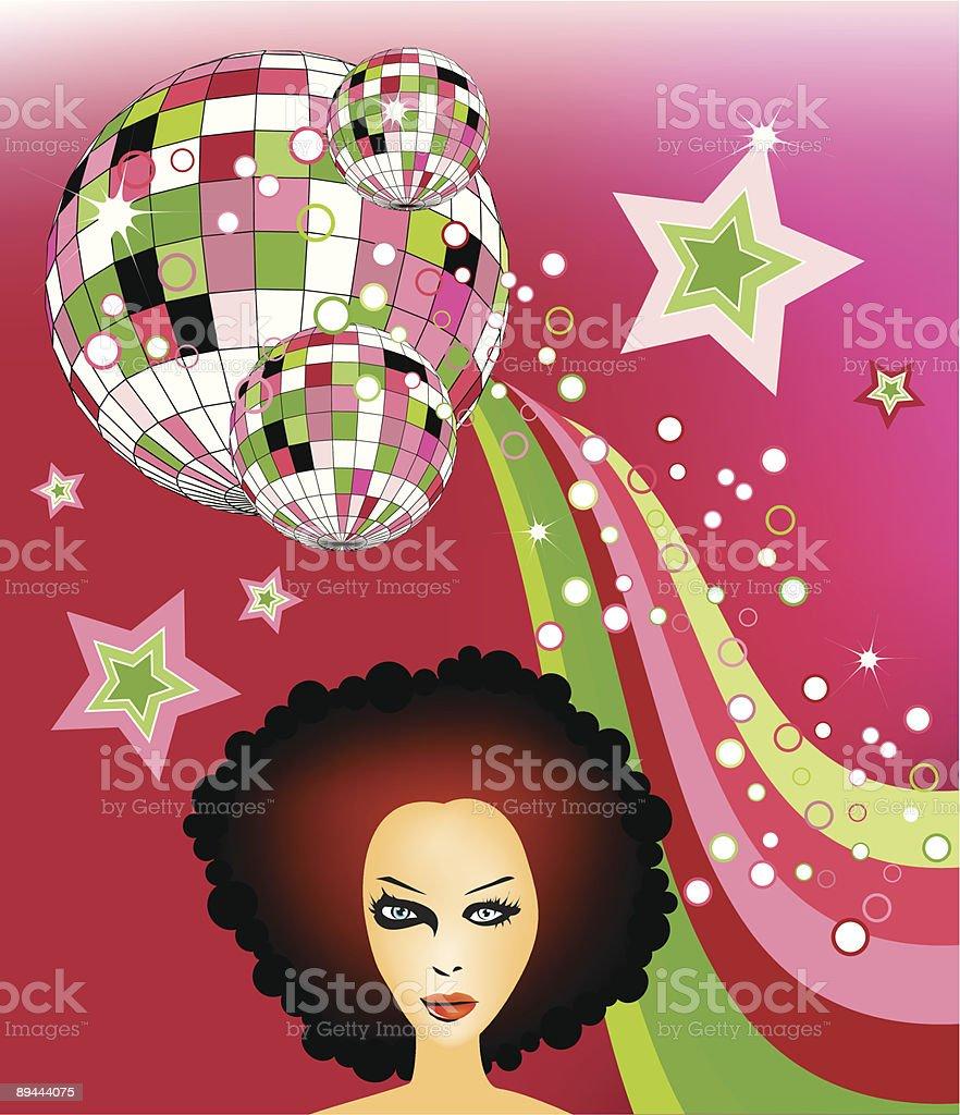 afro girl vector art illustration