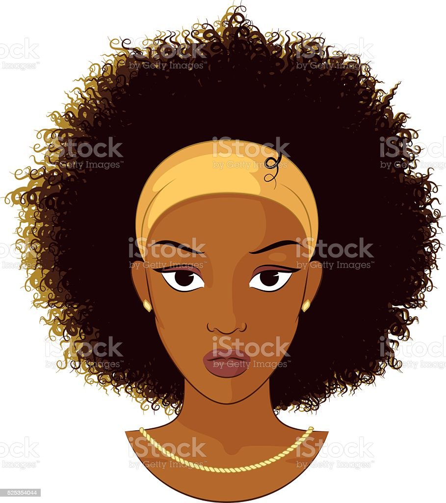 Afro Girl Wearing A Necklace vector art illustration