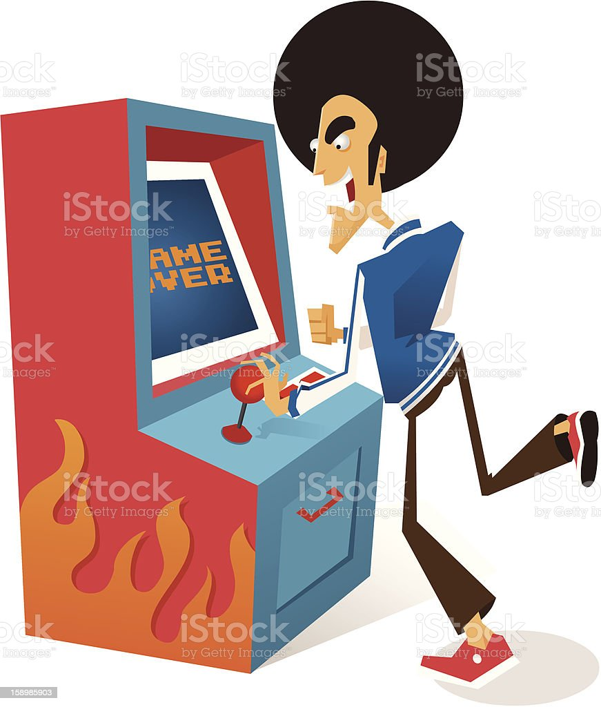 Afro guy plays arcade game royalty-free afro guy plays arcade game stock vector art & more images of 1980-1989