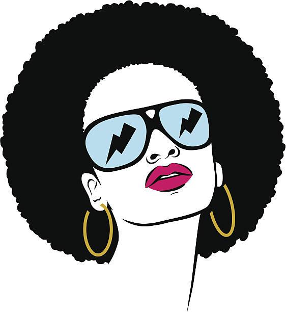 afro hippie woman vector art illustration